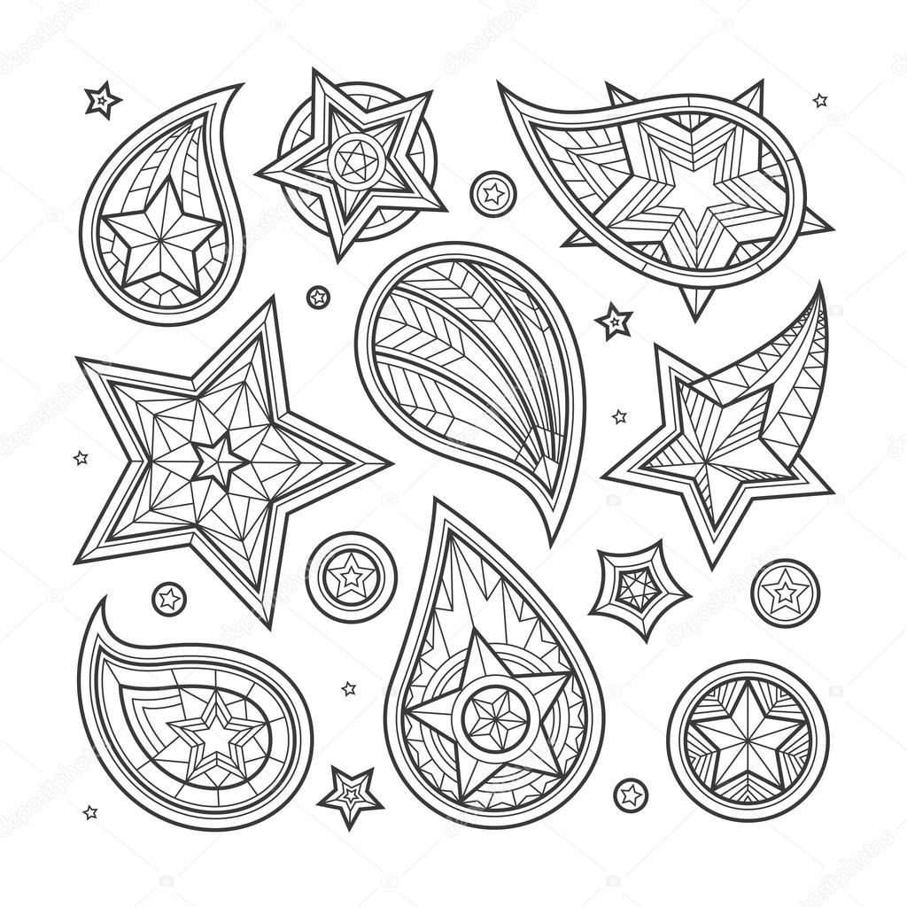 Drawn swirl paisley Star #99630916 Vector elements Hand