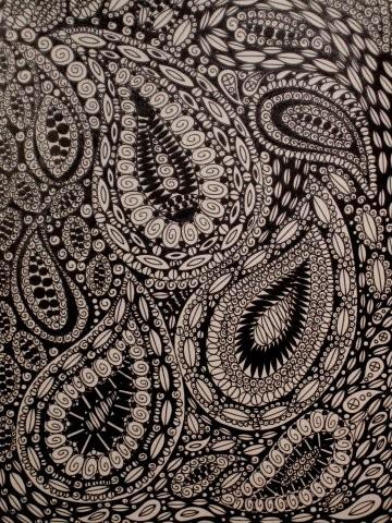 Drawn swirl paisley $150 Drawing Ink via PAISLEY