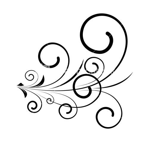 Drawn swirl line Silhouette Old Decorative Swirl Elements