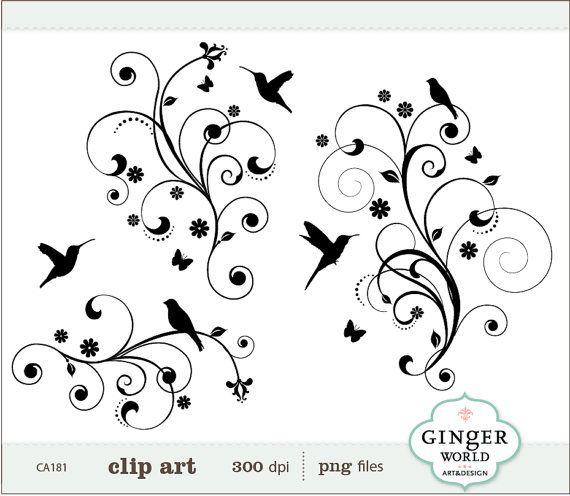 Drawn swirl silhouette Clip Decorative Bird best images