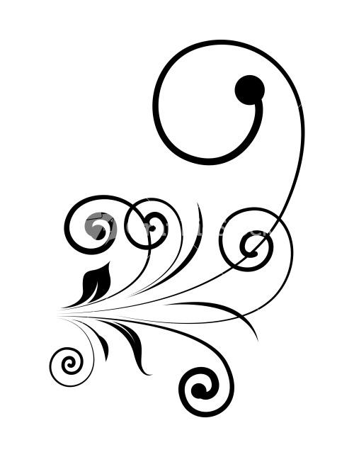 Drawn swirl silhouette Floral Swirl Vintage Design Stock