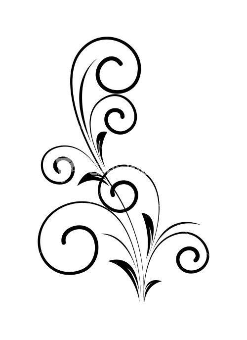 Drawn swirl silhouette Floral Swirl Decorative Silhouette Stock