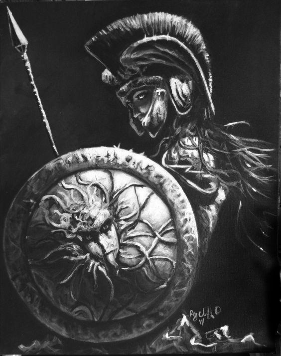 Drawn tattoo greek warrior #1