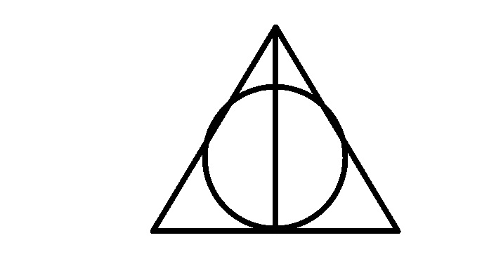 Drawn symbol deathly hallows Of the titled Steps wand