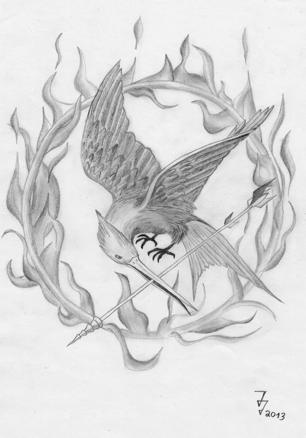 Drawn sykol hunger games Art with flames flames drawing