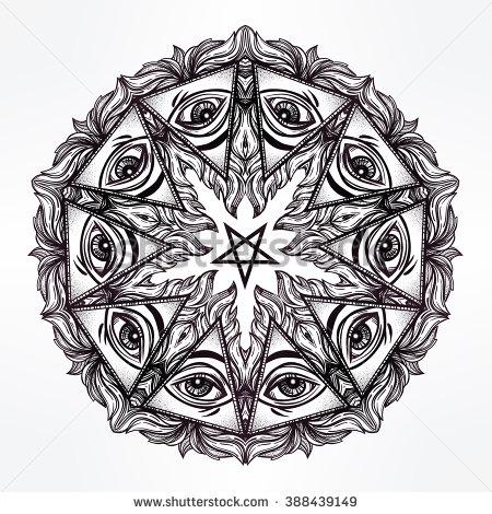 Drawn sykol mandala Tattoo and stock satanic
