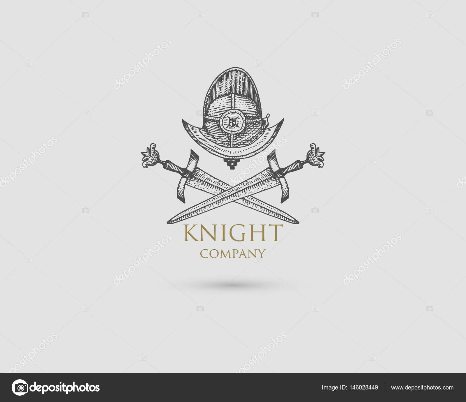 Drawn symbol medieval Engraved Helmet Helmet in Logo