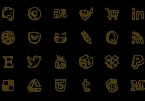 Drawn symbol instagram Friendly social icons Icons drawn