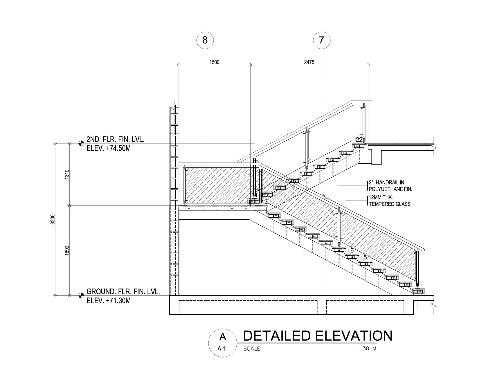 Drawn stairs concrete staircase detail (1650×1275) about stair 132 detail