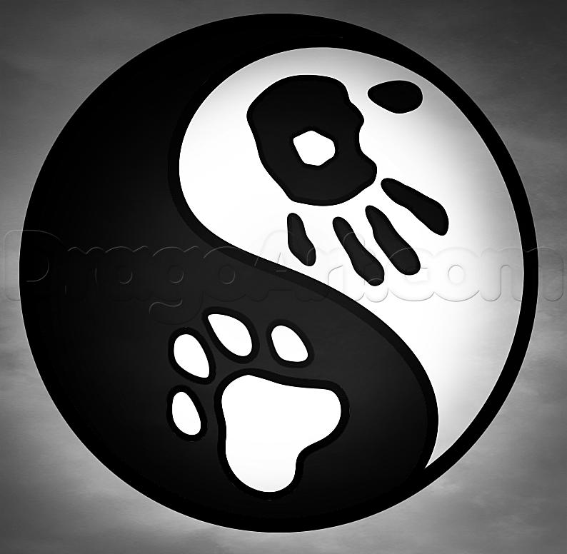 Drawn sykol yin yang Dog to and Pop Symbols