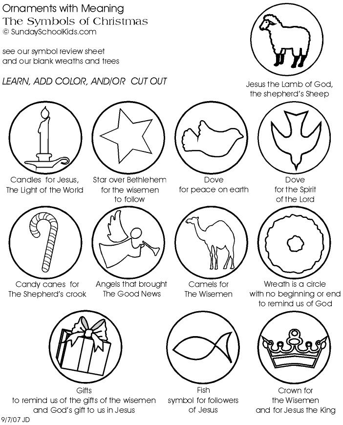 Drawn symbol christmas School Coloring pictures learn Bible