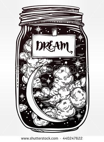 Drawn stars night drawing Jar Hand isolated Magic and