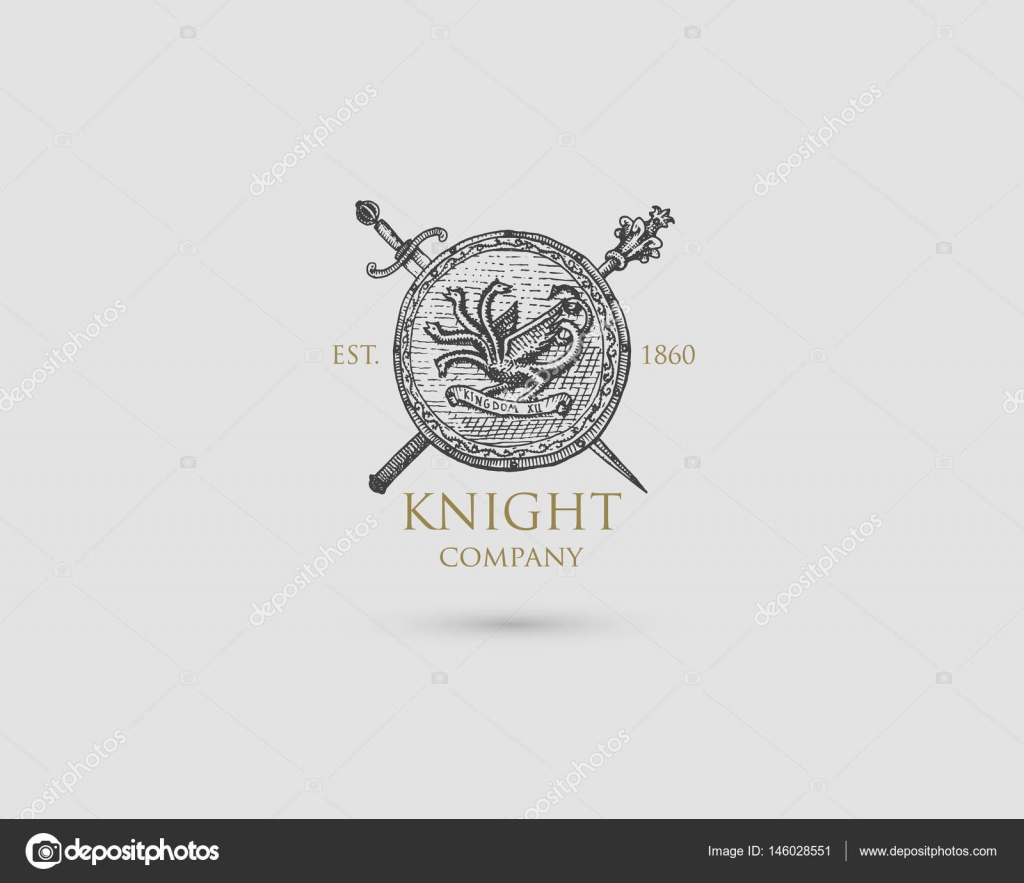 Drawn symbol medieval Medieval with Shield vintage with
