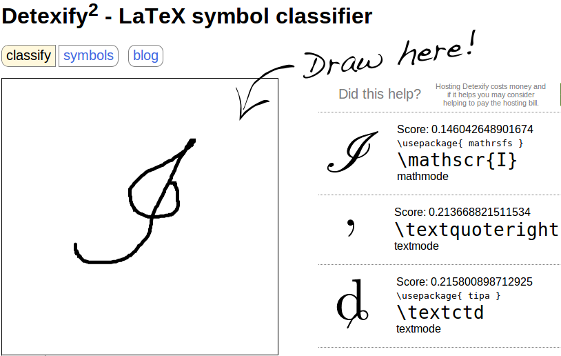 Drawn symbol symbol name  symbol or a math