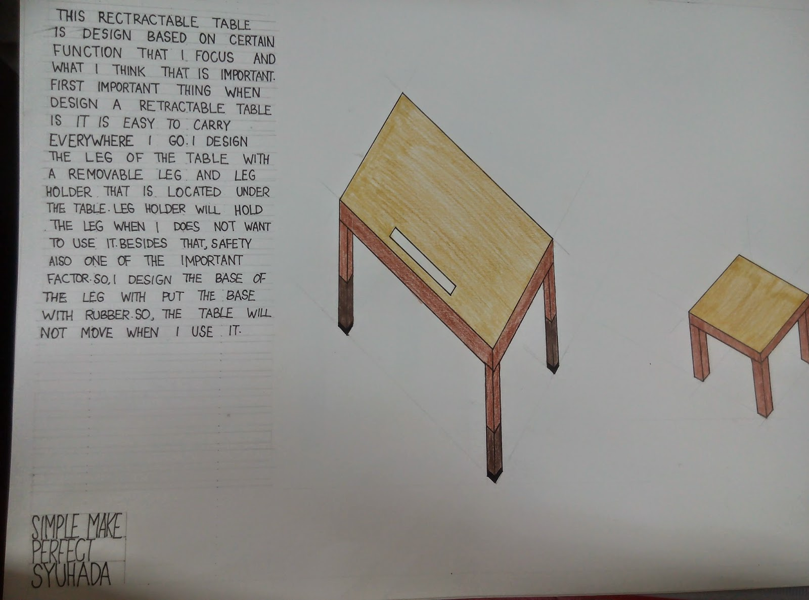 Drawn table Are this including side which