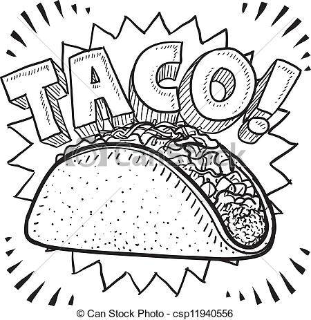 Drawn taco Food sketch style Mexican Doodle