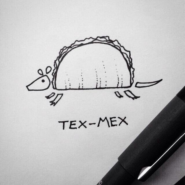 Drawn taco tex mex >^ 2015 #texas Texadillo #texmex