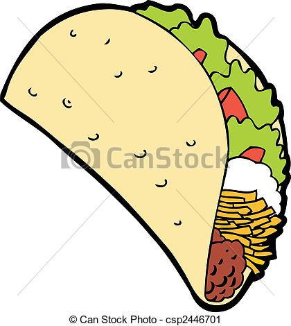 Drawn taco funny cartoon  and isolated a white