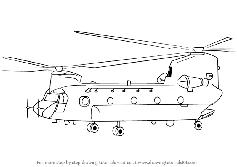 Drawn amd helicopter Learn Chinook 47 CH Helicopter
