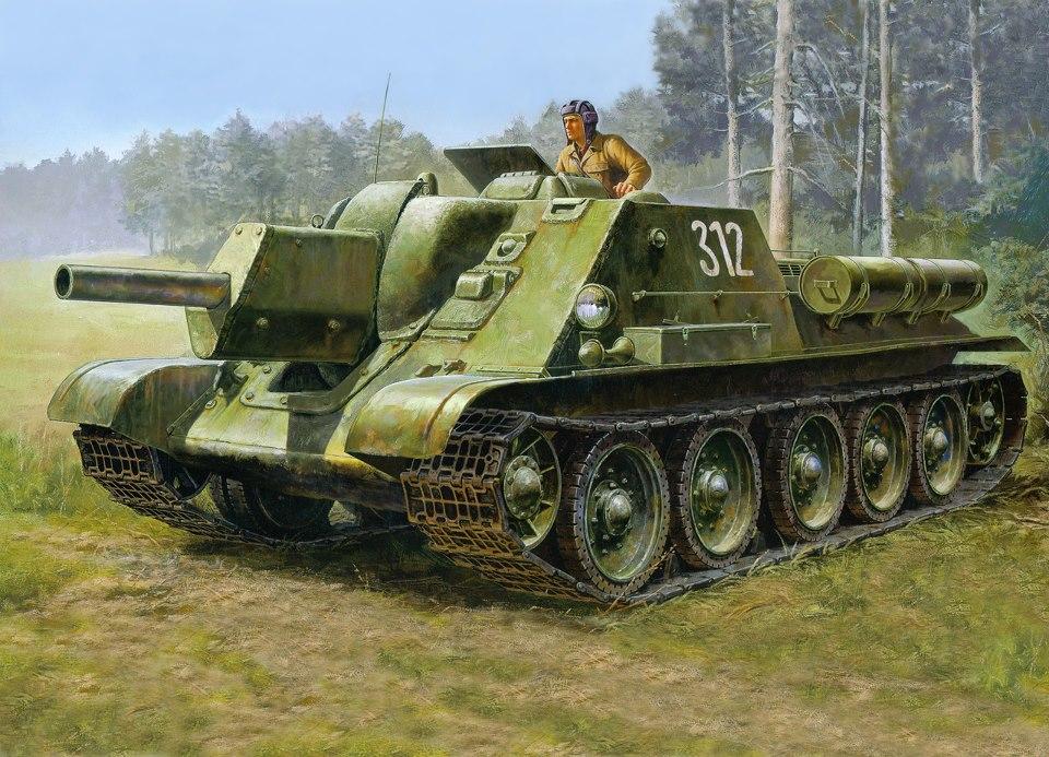 Drawn tank ww2 gun - Pencil and in color drawn tank ww2 gun