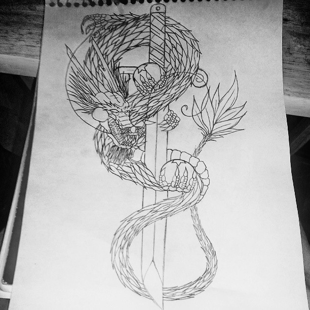 Drawn tattoo 12HighOnLife14 shading tattoo Custom shading