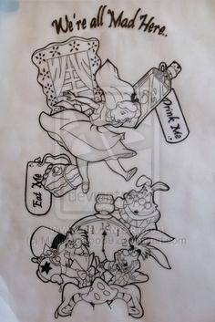 Drawn alice in wonderland hot drawing Drawings Wonderland tattoo in tattoos