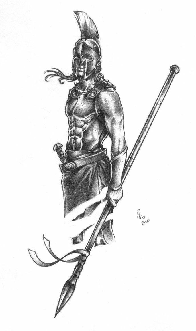 Drawn tattoo greek warrior #6