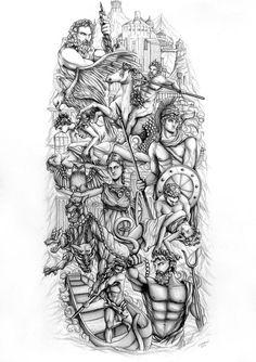 Drawn tattoo greek warrior #7