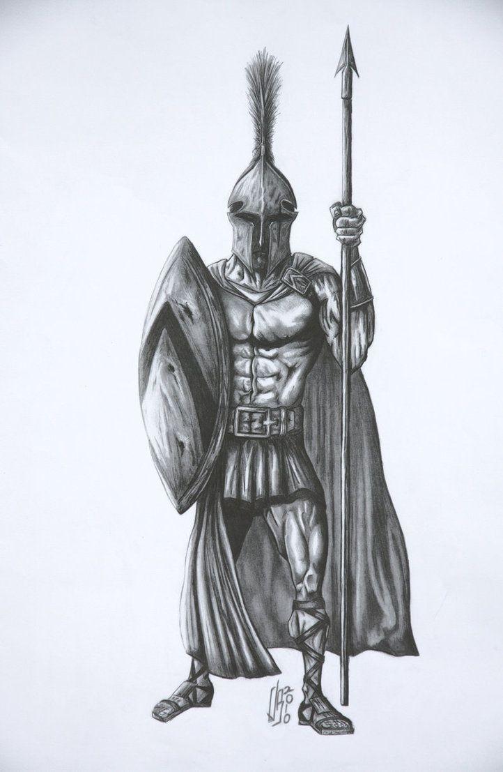 Drawn tattoo greek warrior #11