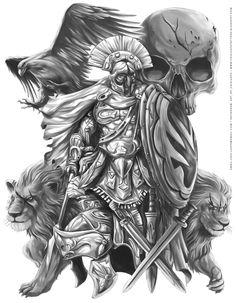 Drawn tattoo greek warrior #13