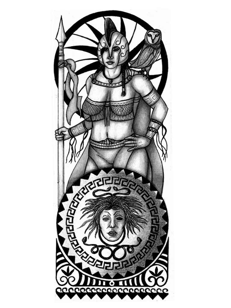 Drawn tattoo greek warrior #12
