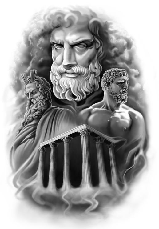 Drawn tattoo greek warrior #8