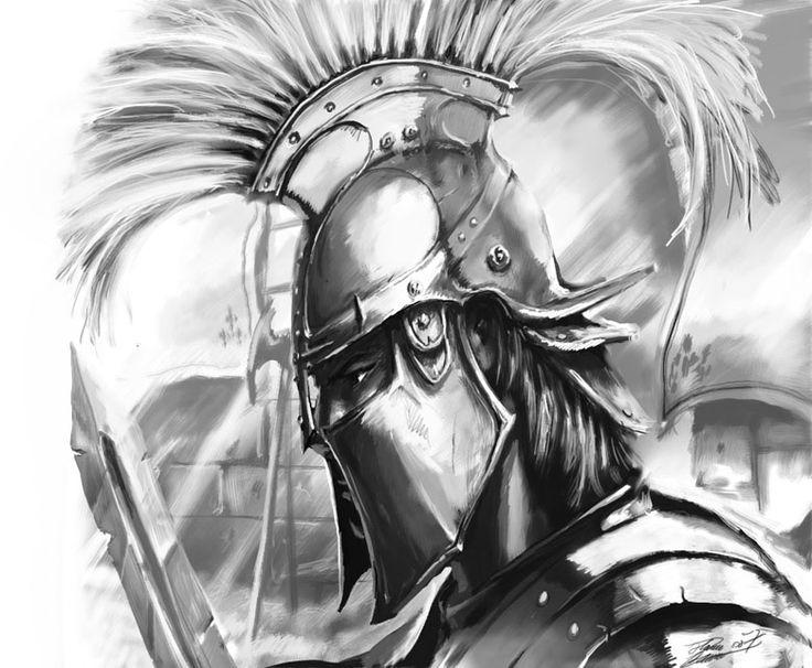Drawn tattoo greek warrior #14