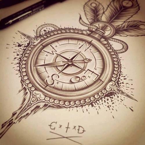 Drawn tattoo moral compass #10