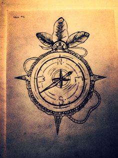 Drawn tattoo moral compass #12