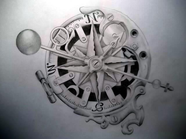 Drawn tattoo moral compass #11