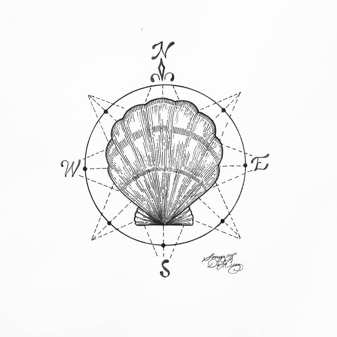 Drawn tattoo moral compass #9
