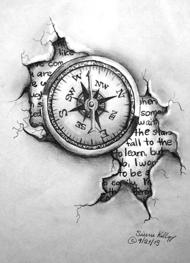 Drawn tattoo moral compass #14