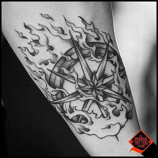 Drawn tattoo moral compass #7