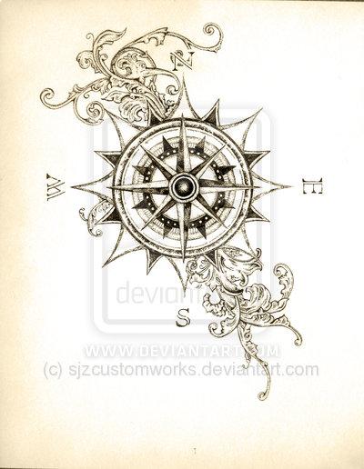 Drawn tattoo moral compass #6