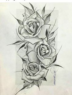 Drawn tattoo rose #13