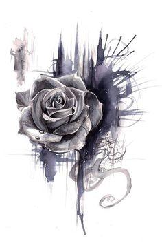 Drawn tattoo rose #12