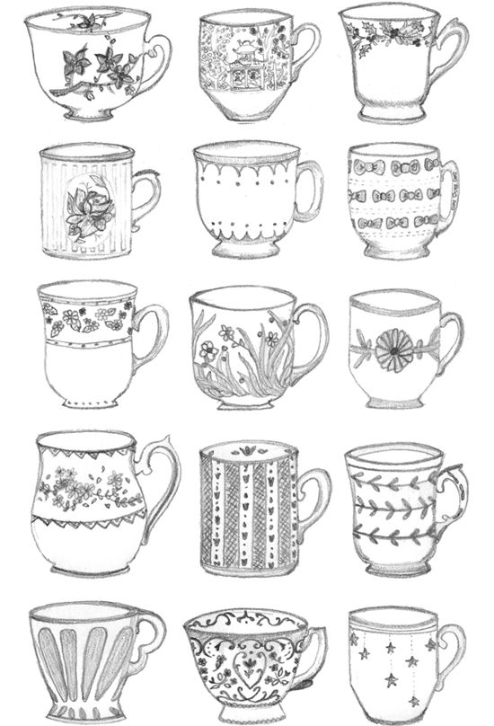 Drawn teapot outline More Tea Teacup 25+ Sketching