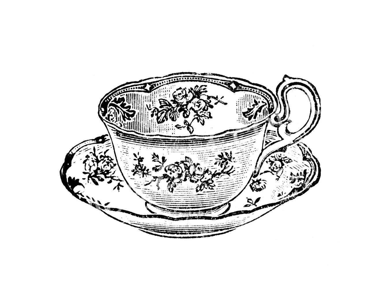 Drawn tea cup Sketch In a wonderland In