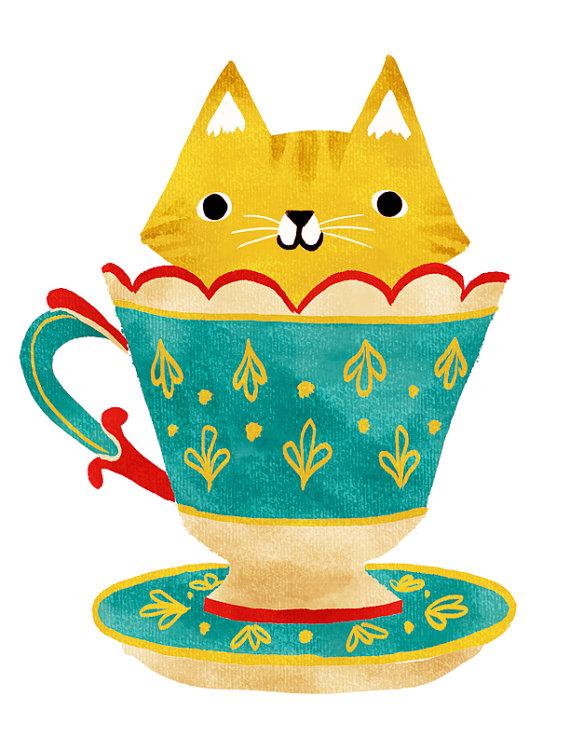 Teacup clipart kitty Printable TEACUP KITTY Kitty