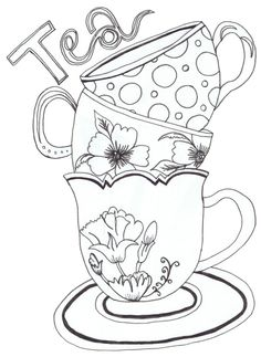 Drawn teacup Adults coloring Pinterest Coloring pages