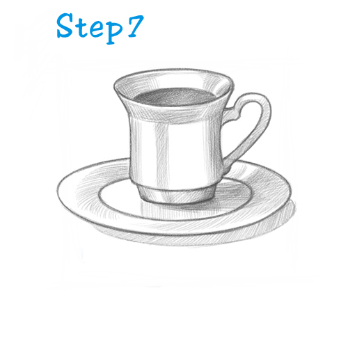 Drawn teacup Com a How – Tea
