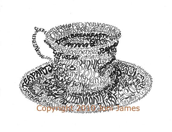 Drawn teacup afternoon tea #9