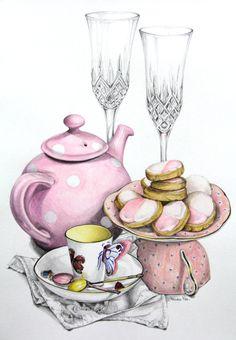 Drawn teacup afternoon tea #5
