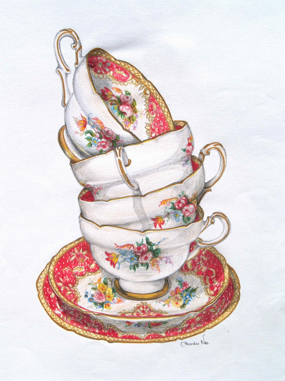 Drawn teacup afternoon tea #4